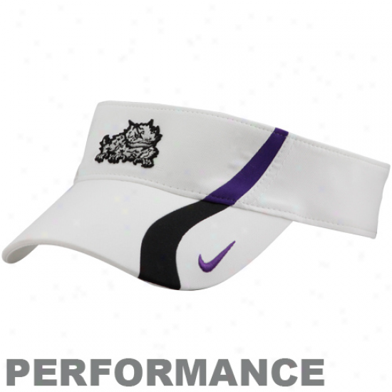 Nike Texas Christian Horned Frogs (tcu White C+s Dri-fit Adjustable Performance Visor