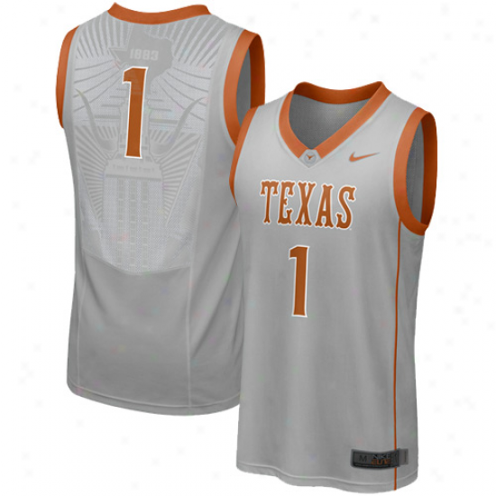 Nike Texas Longhorns #1 Elite Aerobraphic Replica Basketball Jersey - Gray