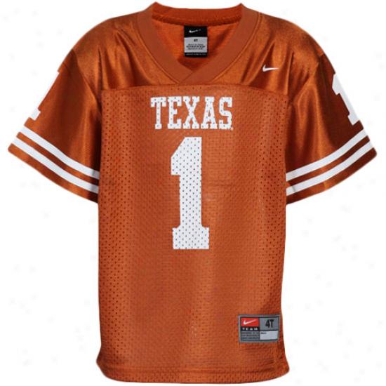 Nike Texas Longhorns #1 Toddler Replica Fkotball Jersey - Burnt Orange