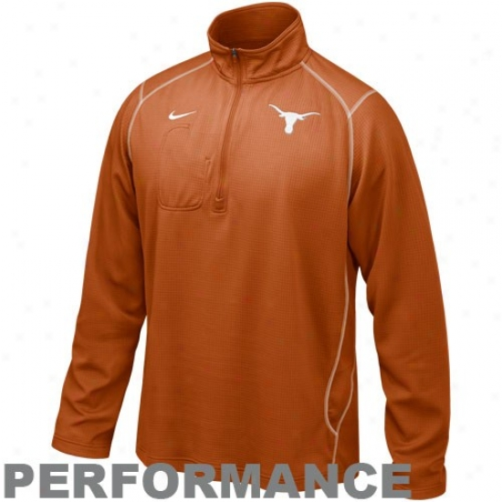 Nike Tezas Longhorns Burnt Orange Turbo 1/4 Zip Long Sleeve Performance Training Top
