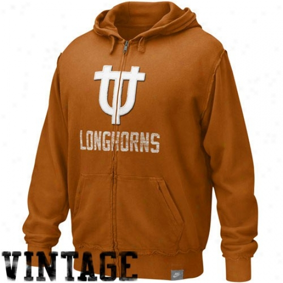 Nike Texas Longhorns Burnt Orange Vault Accredited Applique Full Zip Hoody Sweatshirt