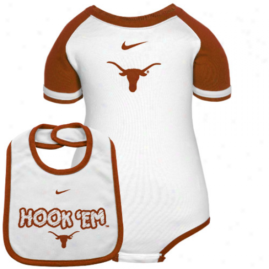 Nike Texas Longhorns Infant White-burnt Orange 2-piece Creeper & Bib Set