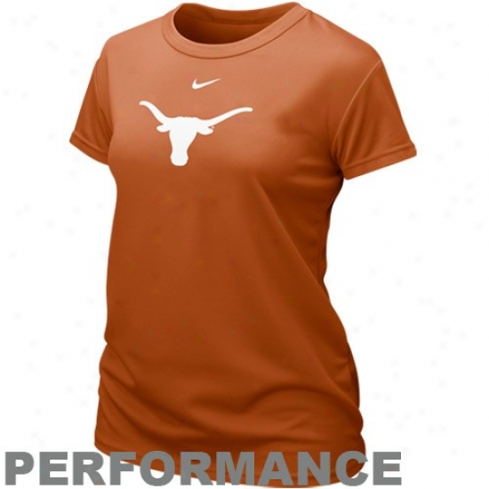 Nike Texas Longhorns Ladies Burnt Orange Dri-fit Logo Performance T-shirt