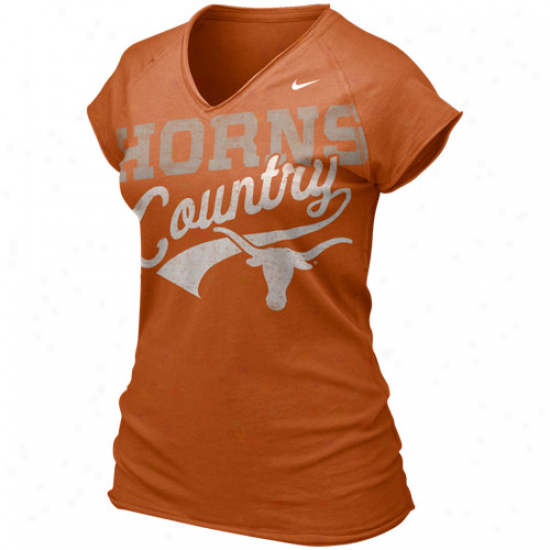 Nike Texas Longhorns Ladies Burnt Orange Ole Faithful V-neck T-shirt