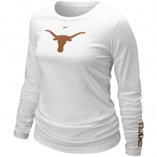 Nike Texas Longhorns Ladies White Classic Logo Long Sleeve T-shirt