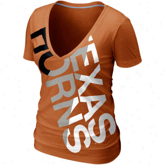Nike Texas Longhorns Womens Deep V Blended T-shirt - Burnt Orange