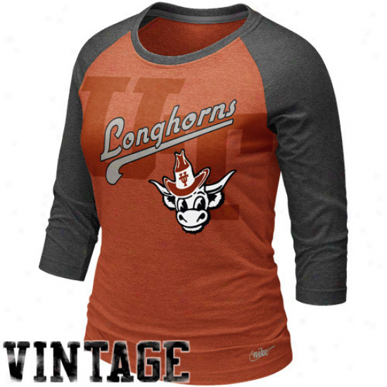 Nike Texas Longhorns Women's Vautl Raglan T-shirt -  Burnt Orange-charcoal
