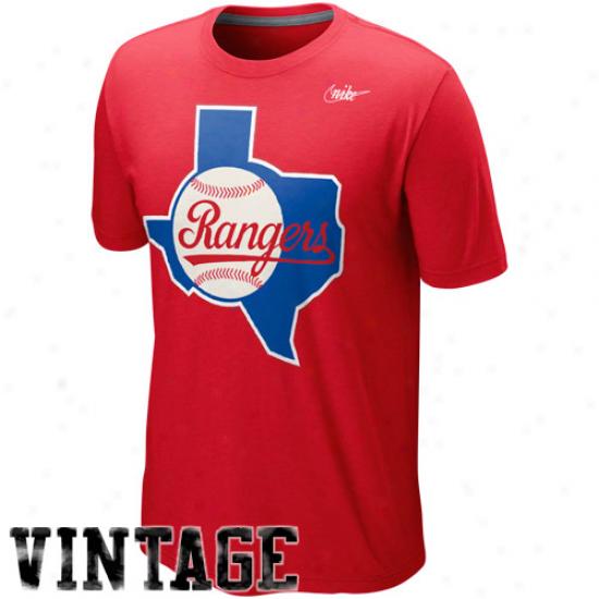 Nike Texas Rangers Cooperstown Blended Logo Tri-blend T-shirt - Red