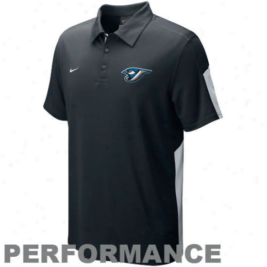 Nike Toronto Blue Jays Black Authentic Collection Dri-fit Performance Polo