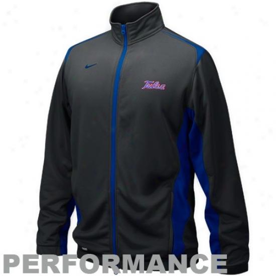 Nike Tulsa Golden Hurricane Charcoal Players Warm-up Training Performance Full Zip Jacket