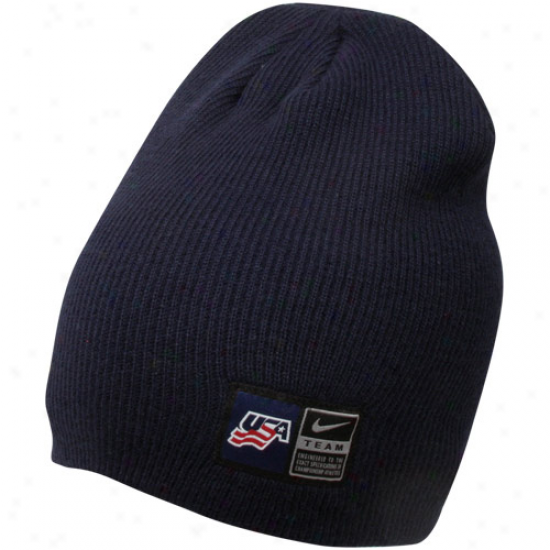 Nike Usa Hockey Navy Blue Iihf Sideline Knit Beanei
