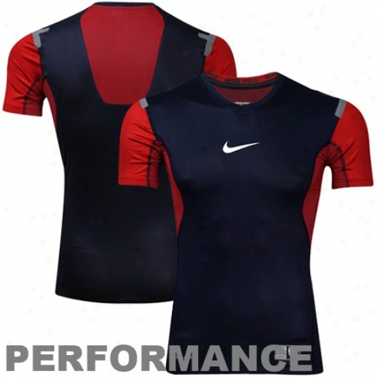 Nike Usa Navy Blue-red Pr oVapor Performance Compression Soccer Top