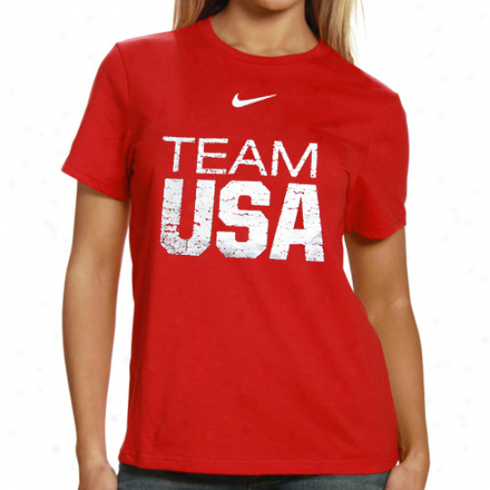 Nike Usa Olympic Team Ladies Red Classic Foil T-shirt