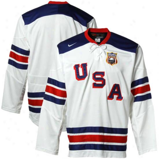 Nike Usa White Iihf Throwback Hockey Jersey