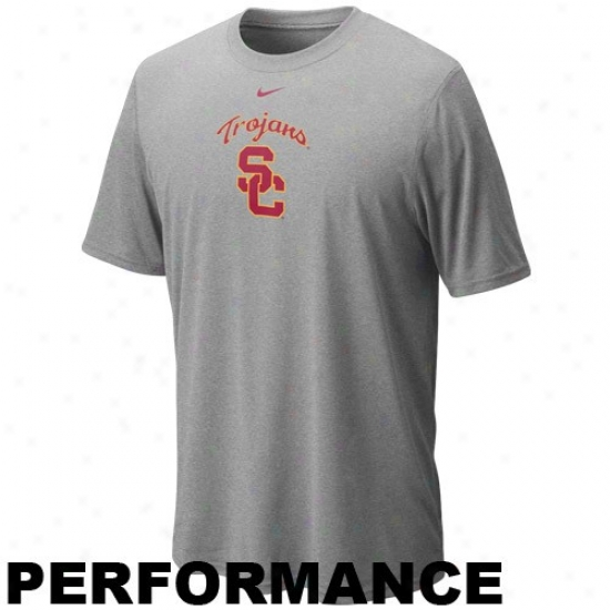 Nike Usc Trojans Ash Legend Logo Performance T-shirt