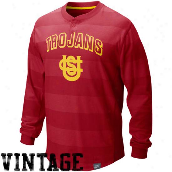 Nike Usc Trojans Cardinal College Vault Vintage Long Sleeve Henley T-shirt