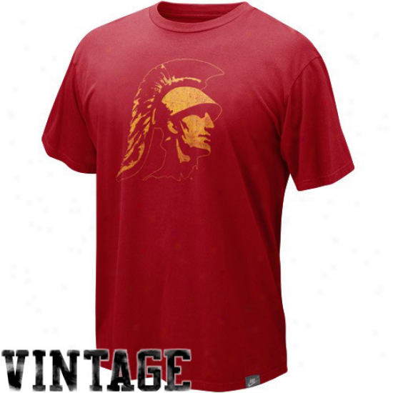 Nime Usc Trojans Cardinal Vault Retro Logo Organic Vintage T-shirt