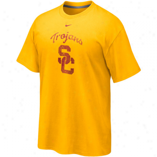 Nike Usc Trojans Gold Distressed Logo Tri-blend T-shirt