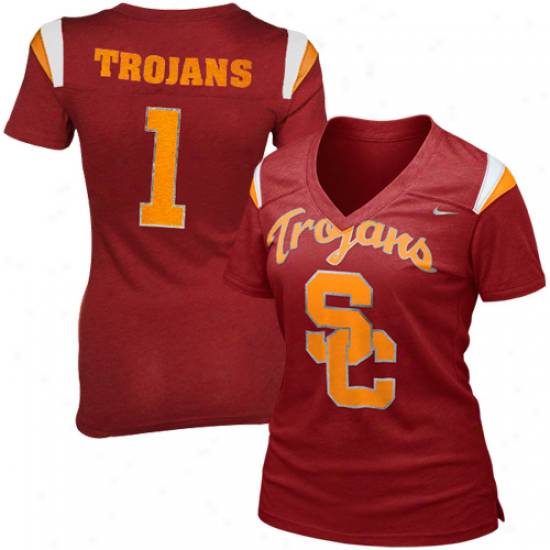 Nike Usc Trojans Ladies Replica Football Premium T-shirt - Cardinal