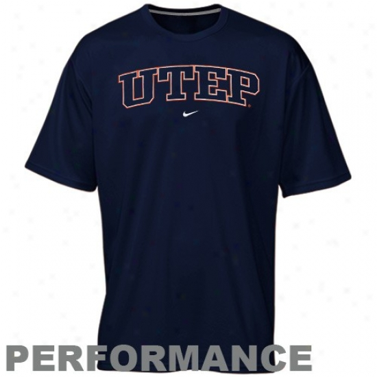 Nike Utep Miners Navy Blue Perpendicular Arch Performance T-shirt