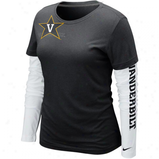Nike Vanderbllt Commodores Ladies Cross Campus Too Double Layer Long Sleeve Premium T-shirt - Black