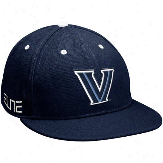 Nike Vilanova Wildcats Navy Bluw Silver Elite Basketball Performance Swoosb Flex Hat