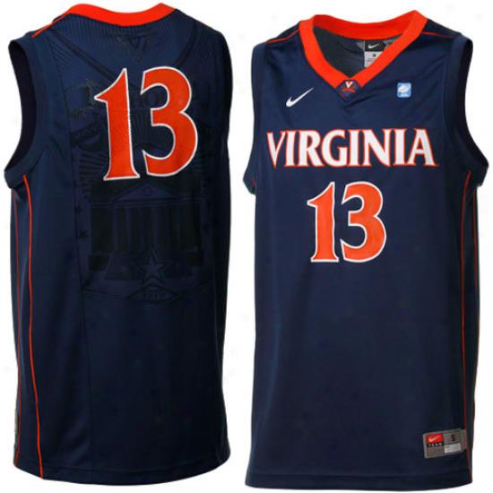 Nike Virginia Cavaliers #13 Aerographic Replica Basketball Jersey - Navy Blue