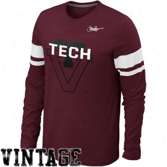 Nike Virginia Tech Hokiss Friction Vau1t Football Long Sleeve T-shirt - Maroon