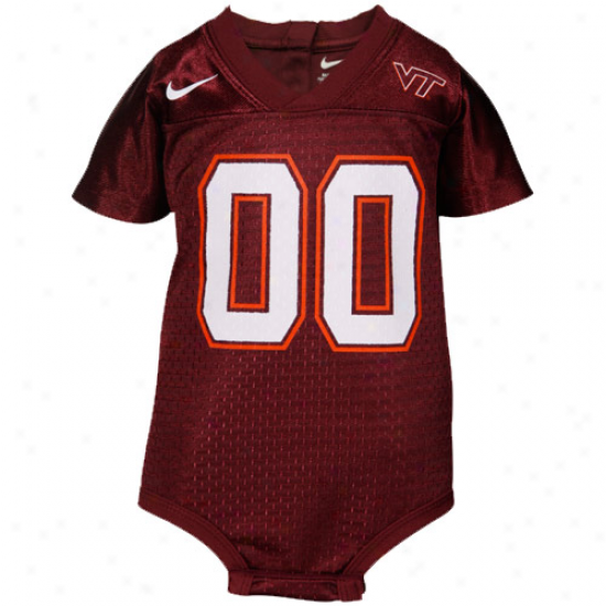 Nike Virginia Tech Hokies Infant Maroon Football Jersey Creeper