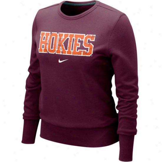 Nike Virginia Tech Hokies Ladies Maroon Comfy Crew Pullover Sweatshirt