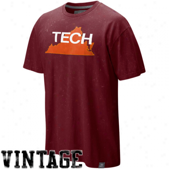 Nike Virginia Tech Hokies Maroon College Vault Seasonal Lava Wash Vintage T-shirt