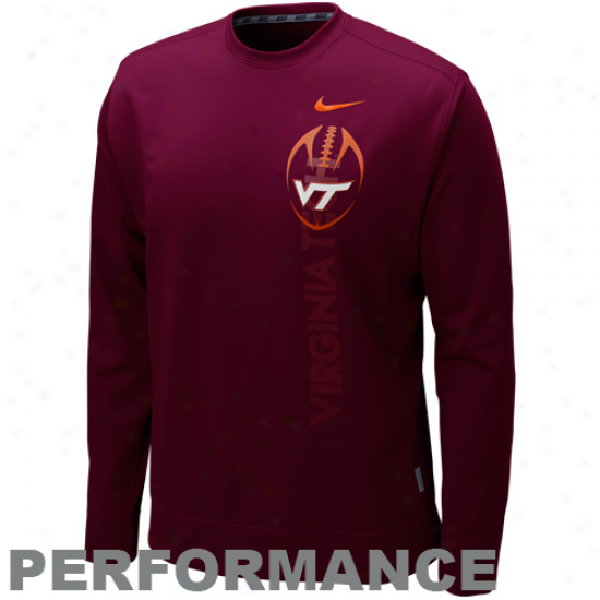 Nike Virginia Tech Hokies Maroon K.o. Perforkance Fleece Crew Saeatshirt