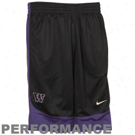 Nike Washington Huskies Black-purple Reversible Performance Basketball Shorts