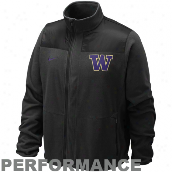 Nike Washington Huskies Black Therma-fit Full Zip Performance Jerkin
