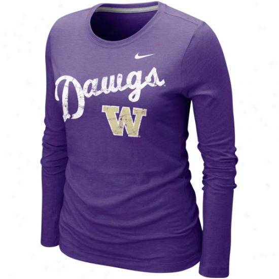 Nike Washington Huskies Ladies Angler Tri-blend Long Sleeve T-shirt - Purple