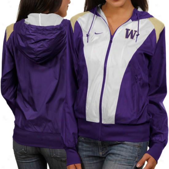 Nike Washington Huskies Ladies White-pufple Sprint Full Zip Hoodie Jacket