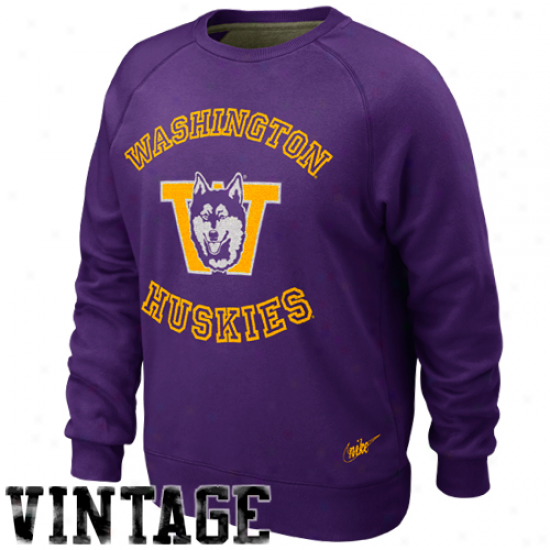 Nike Washington Huskies Purple Vault Crew Fleece Sweatshirt