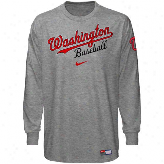 Nike Washington Nati0nals Ash Actions Long Sleeve T-shirt