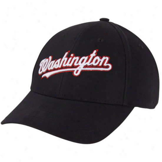 Nike Washkngton Nationals Wordmark Swoosh Flex Hat - Navy Blue
