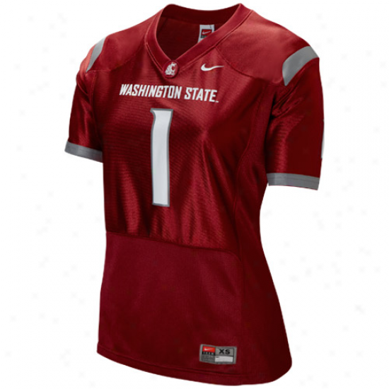 Nike Washington State Cougars #1 Women's Replica Football Jersey - Crimson