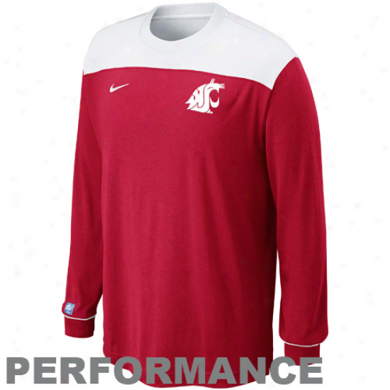 Nike Washington State Cougars Shootaround Long Sleeve Performance T-shirt - Crimson-white
