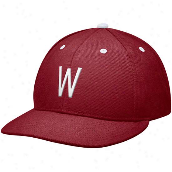 Nike Washington Rank Cougars True Authentic Fitted Baseball Hat - Crimson