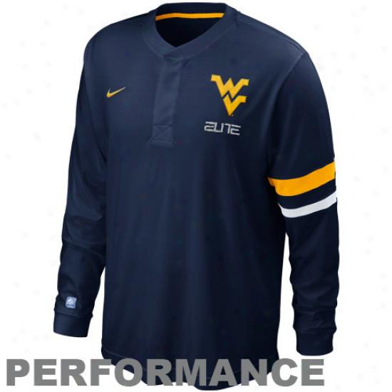 Nike West Virginia Mountaineers lEiye Shootaround Long Sleeve Performande T-shirt - Nafy Blue