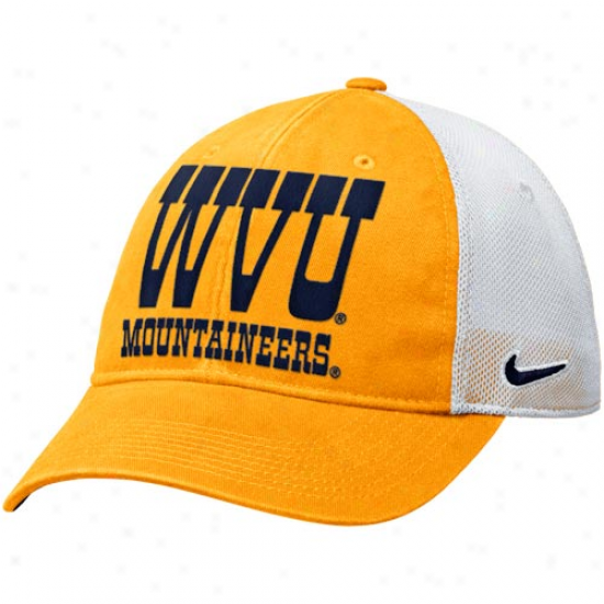 Nike West Virginia Mountaineers Heritage 86 Relaxed Adjustable Hat - Gold-white