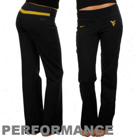 Nike West Virginia Mountaineers Ladies Black Be Strong Action Pants