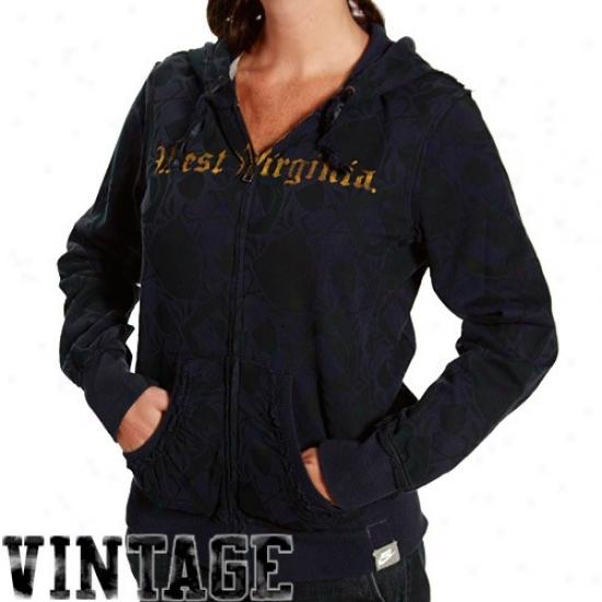 Nike West Virginia Mountaineers Laadies Navy Azure All Over Me Full Zip Vintage Hoody