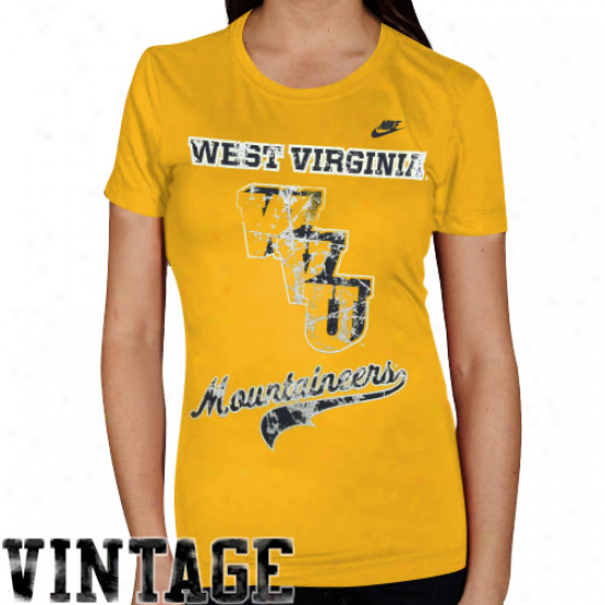 Nike Western Virginia Mountaineers Ladies lOd Gold Vault Old-school Tri-blend T-shirt