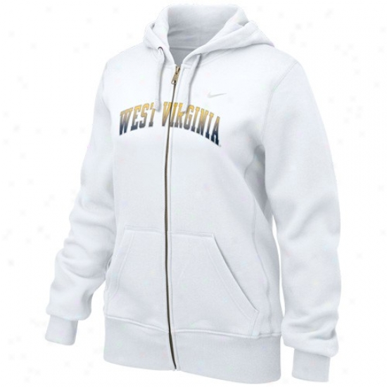 Nike West Vrginia Mountaineers Ladies White Seasonal Full Zip Hoody Sweatshirt