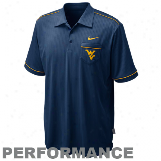 Nike West Virginia Mountaineers Navy Blue Conference Acting Polo