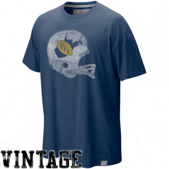 Nie Western Virginia Mountaineers Navy Blue Football Tomb Washed Organic Vintage T-shirt
